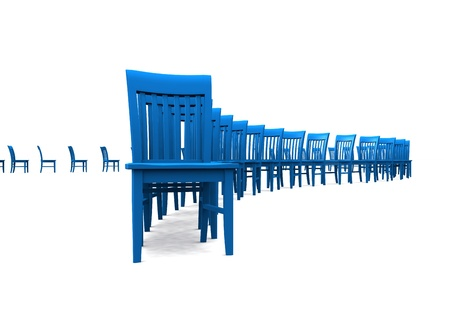 contributors: 3D Chairs in a row on white background