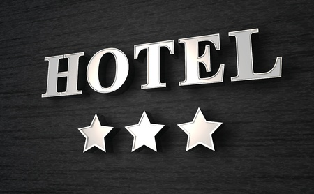 3D Hotel sign Stock Photo