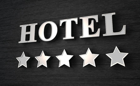 luxury hotel room: 3D Hotel sign Stock Photo