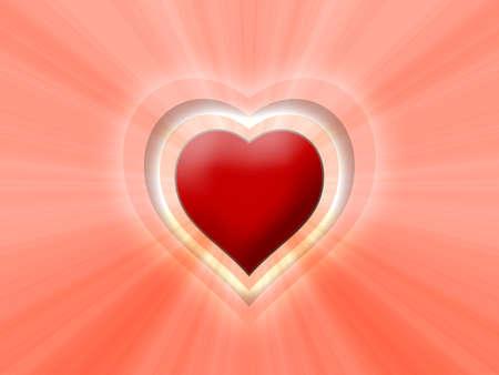 esoterismo: Corazón 3D con sol Foto de archivo