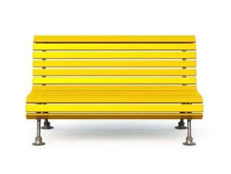 golden park bench on white background photo