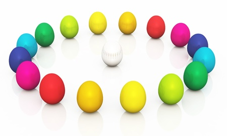 colorful easter eggs in a circle photo