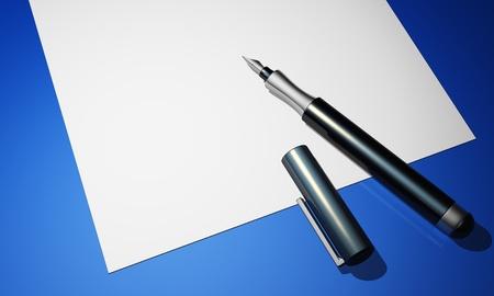 advocate: l�piz y papel sobre fondo azul Foto de archivo