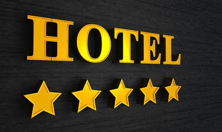 five stars: 3d Hotel sign gold on black Stock Photo