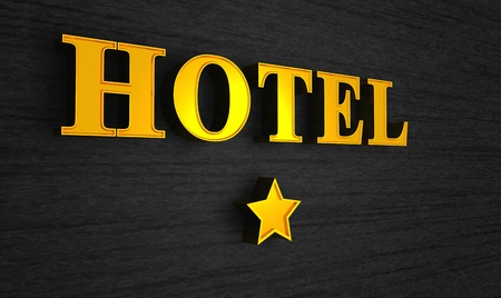 3d Hotel sign gold on black Stock Photo - 8730628