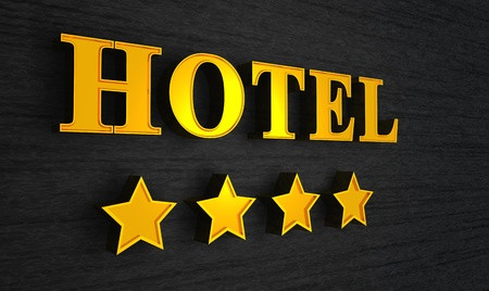 3d Hotel sign gold on black Stock Photo