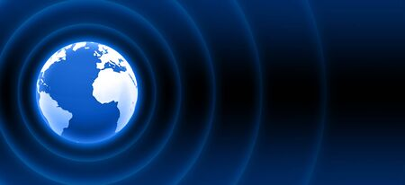 3d globe with blue waves photo
