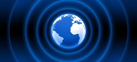 sound wave: 3d globe with blue waves Stock Photo