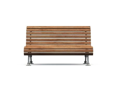bench park: antiguo Banco del Parque marr�n sobre fondo blanco