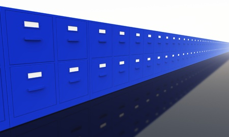 blue filing cabinets on black ground photo