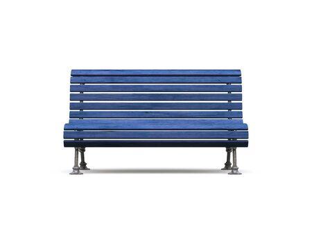 banc de parc: Banc de parc bleu sur fond blanc