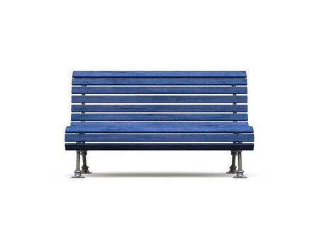 park bench: blue park bench on white background Stock Photo