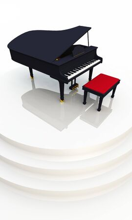 unfold: black piano on white stage