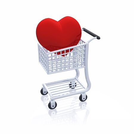 silver shopping cart with red heart Stock Photo - 8763581