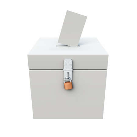 polity: voting box white Stock Photo