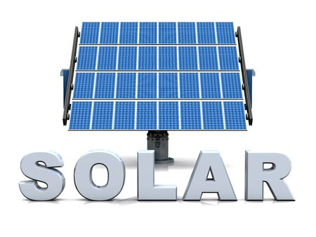 the blue cell: solar cells on white background Stock Photo