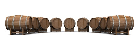 abstractly: 3d barrels on white background