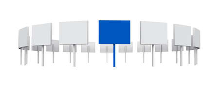 white and blue signs on white background photo