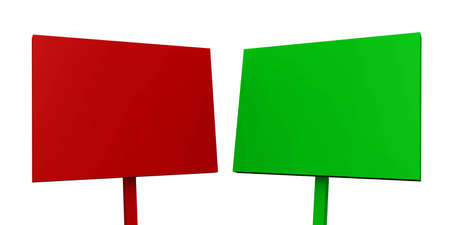 red and green sign on white background photo