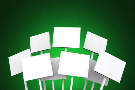 white signs on green background photo