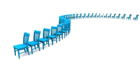 contributors: blue chairs in a row Stock Photo