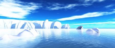 frigid: arctic icebergs in water