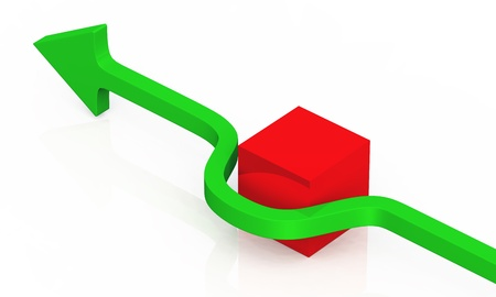 green arrow an red cube photo