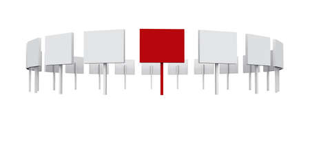 white and red displays in a row photo