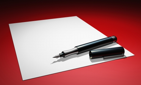 pen and paper on red ground