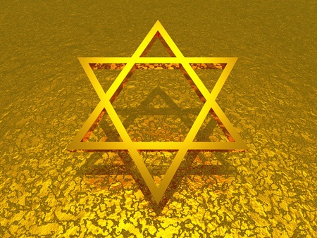 3d star over golden structure photo