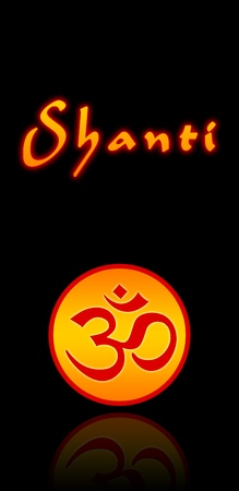 om sign: om sign with shanti text