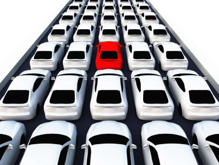 a lot of cars on black street Stock Photo