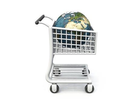 earth in shopping cart photo