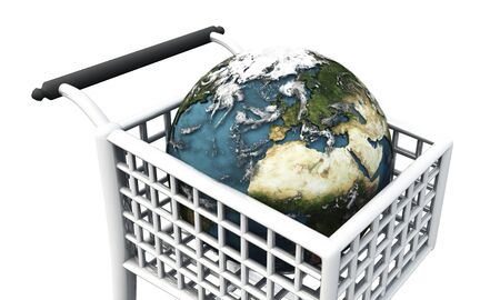 internationally: earth in shopping cart Stock Photo