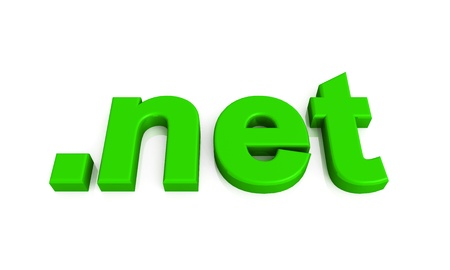 webhoster: green 3d domain on white background Stock Photo