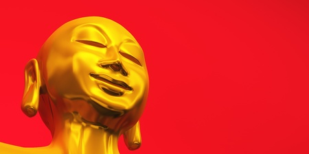 gold buddha head and red background photo