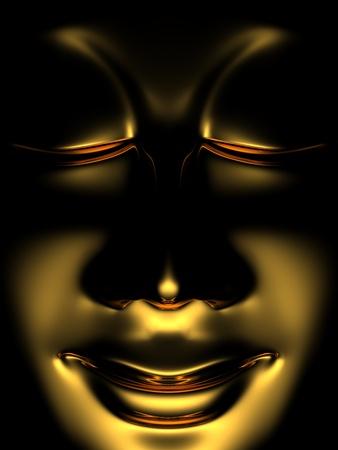 golden buddha in the dark photo