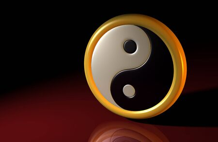 good karma: 3d symbol yin and yang