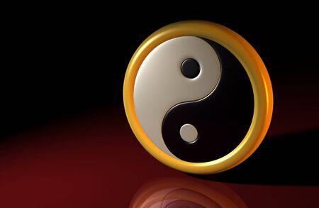 metaphysic: 3d symbol yin and yang