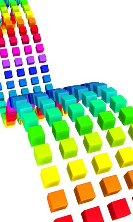 range of motion: colorful 3d cubes on white background Stock Photo
