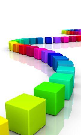 imprenta: coloridas cubos 3d sobre fondo blanco Foto de archivo