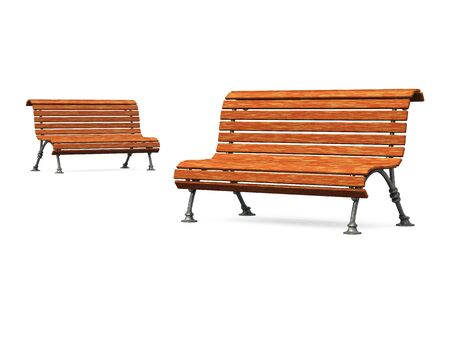 garden bench: two old park benches on white ground