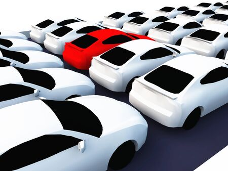 a lot of cars white and red Stock Photo - 9117776