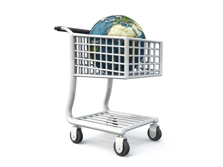 3d shopping cart with globe photo