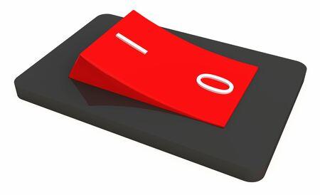 3d: 3D commutateur rouge noir isol� Banque d'images