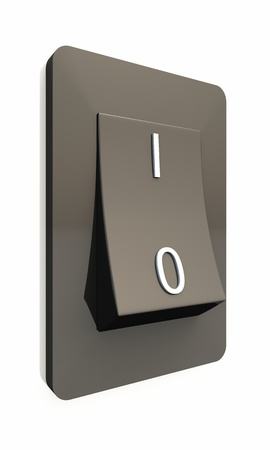 close out: 3d switch black isolated Stock Photo