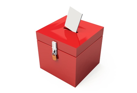 red 3d ballot box with letter