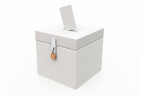 white 3d ballot box with letter photo