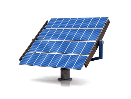 solar power station: blue solar cells on white background