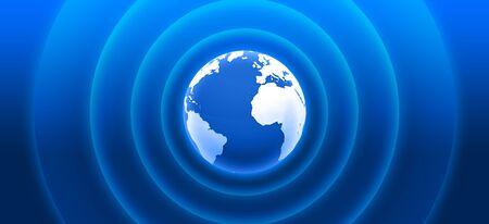 3d globe with blue radar waves Stock Photo - 9117034
